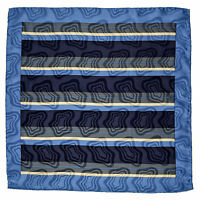 SANTOSTEFANO Handmade Geometric Navy Gold Blue Pocket Square Handkerchief $150