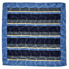 "SANTOSTEFANO Handmade Blue 15"" Stripe Silk Pocket Square Handkerchief NWT $150"