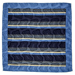 "SANTOSTEFANO Handmade Blue 15"" Stripe Silk Pocket Square Handkerchief NWT $150"