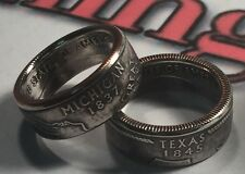 State Quarter Coin Rings Any State *Size 4-14 (Message Size & State) powder Coat