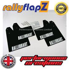 rallyflapZ Mitsubishi Lancer Evo 5-6 Qty4 Mud Flaps Kit Black Logo White 4mm PVC