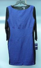 NWT Women's CHAPS Blue With Black Ribbed Striping Sheath Dress Size 12 MSRP $100
