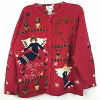 Quacker Factory Womens Size 1X Red Christmas Sweater Angels Embellished Cardigan
