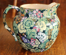 Large Antique Buffalo MultiColor Geranium Pitcher Chintz 1907 Semi-Vitreous Rare