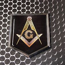 "Mason Masonic FREEMASON Domed CHROME Emblem Black Car 3D Sticker 2""x 2.25"""