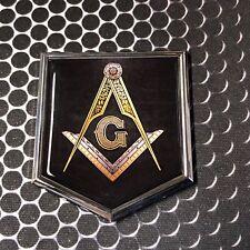 "Mason Masonic FREEMASON Domed CHROME Emblem Black Car 3D Sticker 2""x 2.25"""