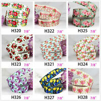 "5-10 yards vintage floral flower rose 7/8"" grosgrain ribbon craft hair bow cake"