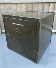"""More details for vintage green industrial steel storage cabinet with key 18"""" square"""