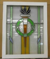 """MID SIZED OLD ENGLISH LEADED STAINED GLASS WINDOW Olympic Torch"""" 19.5"""" x 24.5"""""""
