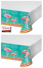 (2 Pack) Pink Flamingo Island Oasis Plastic Table Cover 54 X 102 Inches (Plus...