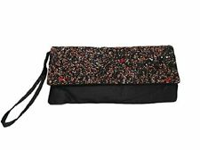 Ladies Womens Black and Coral Beaded Sequin Evening Dinner Clutch Bag Purse #2F5