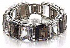 Hutton Wilkinson Statement Jewelry Black and Clear Stone Line Bracelet Flexible