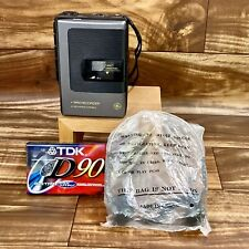 GE Mini Recorder 3-5353B Cassette Player Recorder w Headpnones & New Tape Works