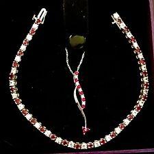 Ruby & Diamond 14K White Gold Pendant Necklace & Matching Tennis Bracelet