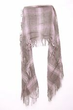 Grey & Candy Pink Tartan Scarf W Tassels For Cool Young Lady To Keep Warm (S164)
