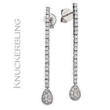 0.75ct F VS Brilliant Cut Diamond Drop Earrings in 18ct White Gold Pear Clusters