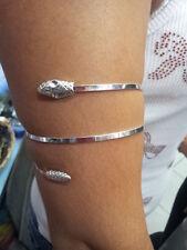 bracciale schiava  serpente  da braccio bagno argento bracelet silver plated