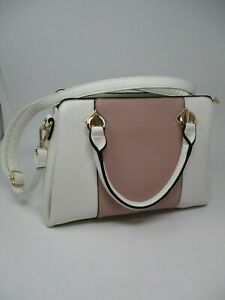 Dasein White Leather Purse Handbag With Pink Accent