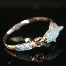 925 Sterling Silver Handmade Antique Turkish Fish Turquoise Bracelet Cuff