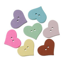 10 x HEART BUTTONS 20 x 16mm, MIXED COLOUR, WOODEN, TWO HOLE -  FREE POSTAGE