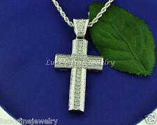 14k Solid White Gold Greek Style 1.00 ct Natural Diamond Cross Pendant 10.20gram
