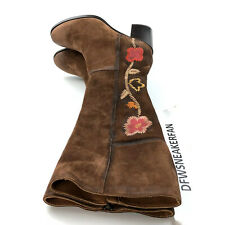 Frye Nova Flower Brown Women's Size 8.5 Tall Boots Suede New