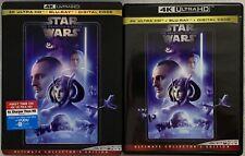 STAR WARS EPISODE I THE PHANTOM MENACE 4K ULTRA HD BLU RAY 3 DISC SET  SLIPCOVER