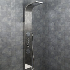 Modern Bathroom Shower Tower Panel Thermostatic Polished Stainless Steel Finish