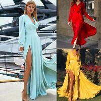 Bohemian Women Sexy Slit Maxi Dress Lady Long Sleeve V Neck Casual Party Dresses