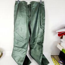 Hugo Buscati Genuine Leather Vintage Pants Emerald Green size 8 petite Womans