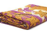 Indian Reversible Quilt Hippie Blanket Vintage Kantha Bedspread Ethnic Throw