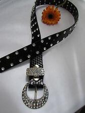 Women Faux Leather Western Black Belt Bow Tie Ribbon Charms Silver Buckle S M