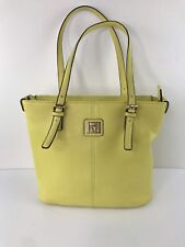 Vintage ANNE KLEIN Women's Yellow Lion Leather Satchel Purse Tote Handbag J01