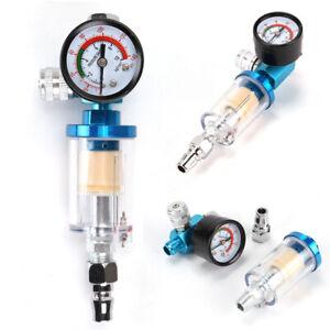 Mini Air Pressure Regulator Gauge Spray Gun & In-Line Water Trap Air Filter UK