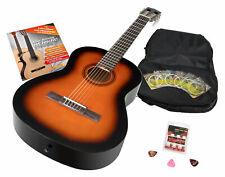 7/8 Klassik Gitarre Akustik Gitarre Sunburst Starter Set Gigbag Plecs Schule DVD