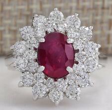 3.79 Carat Natural Ruby 14K White Gold Diamond Ring