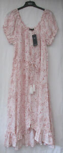 LADIES MARKS AND SPENCER PINK MIX PURE LINEN GYPSY STYLE MIDI DRESS SIZE 14