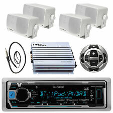 New Kenwood iPod MP3 Pandora Radio with Antenna,Amp,4x Box Speakers+Wired Remote