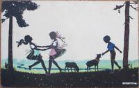 Silhouette 1920 Manni Grosze/Artist-Signed Postcard: Children Dancing, Sheep