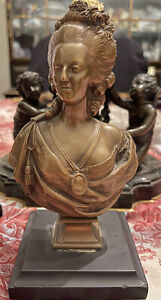 Magnificent 19thC Bronze Bust Marie Antoinette Barbedienne Fondeur Foundry Stamp