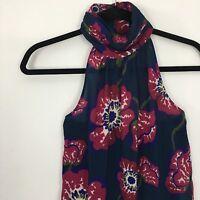 Tucker For Target Top XS Sleeveless High Neck Halter Blouse Floral Poppy Print