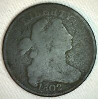1802 Draped Bust Copper Large Cent Early Penny Type US Coin Good S236 Circulated