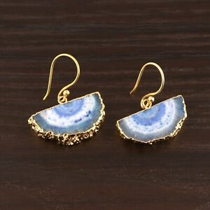 Beautiful Blue Half Solar Quartz Yellow Gold Electroplated Drop Dangle Earrings
