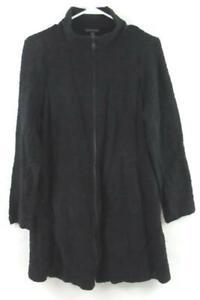 Eileen Fisher Full Zip Long Cardigan Sweater Women's Size Small Black Textured