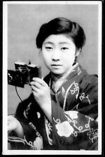 Japan c.1920's  Beautiful Young Japanese Woman Posed with Camera - monotone