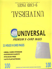 UNIVERSAL 11-Hole Premium 9-Pocket Pages x 20--for Cricket  cards