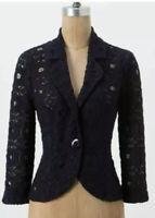 Tabitha Anthropologie Sheer Navy Blue Lace DELPHINIUM Blazer Unlined Jacket Sz 4