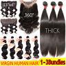 3Bundles/300g 100% Virgin Human Hair Weave 4X4 360° Lace Closure Straight Curly