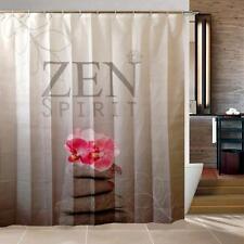 Zen Spirit Pink Orchid Pebbles Bathroom Shower Curtain Polyester Hooks
