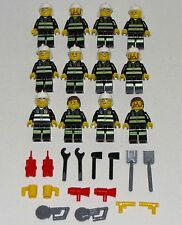 LEGO LOT OF 12 NEW TOWN FIREMEN CHIEF MINIFIGURES FIRE FIGHTERS CITY FIGURES